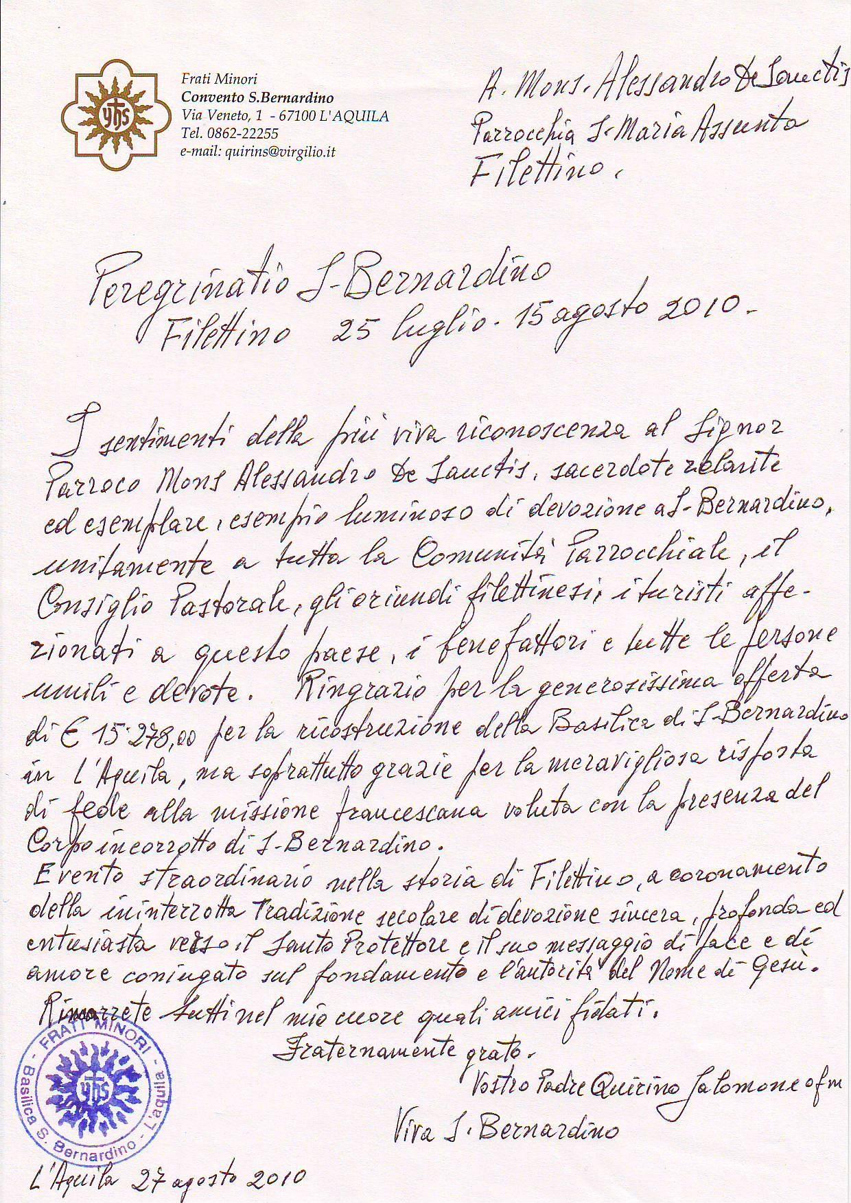 lettere di ringraziamento di padre quirino salomone